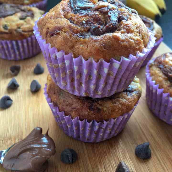 Nutella Chocolate Chip Banana Muffins
