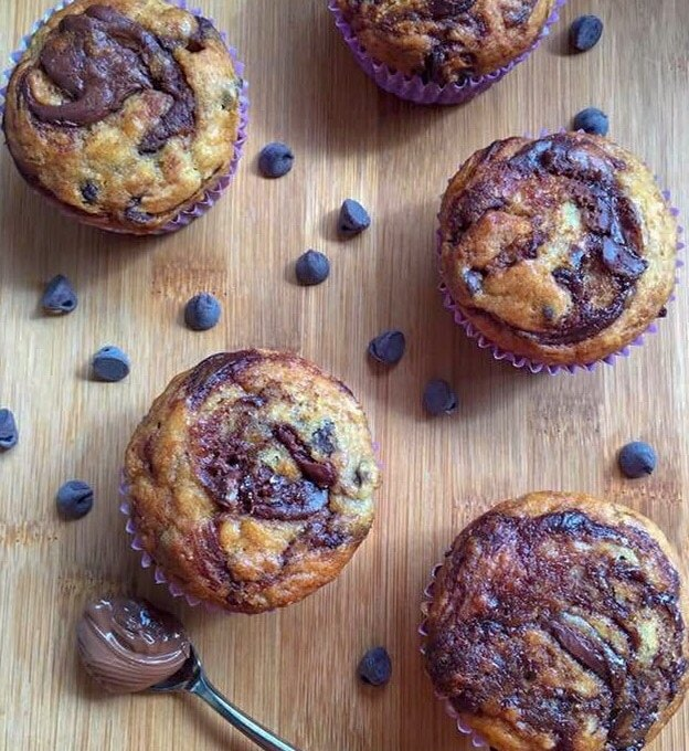 Nutella swirled chocolate chip banana muffins