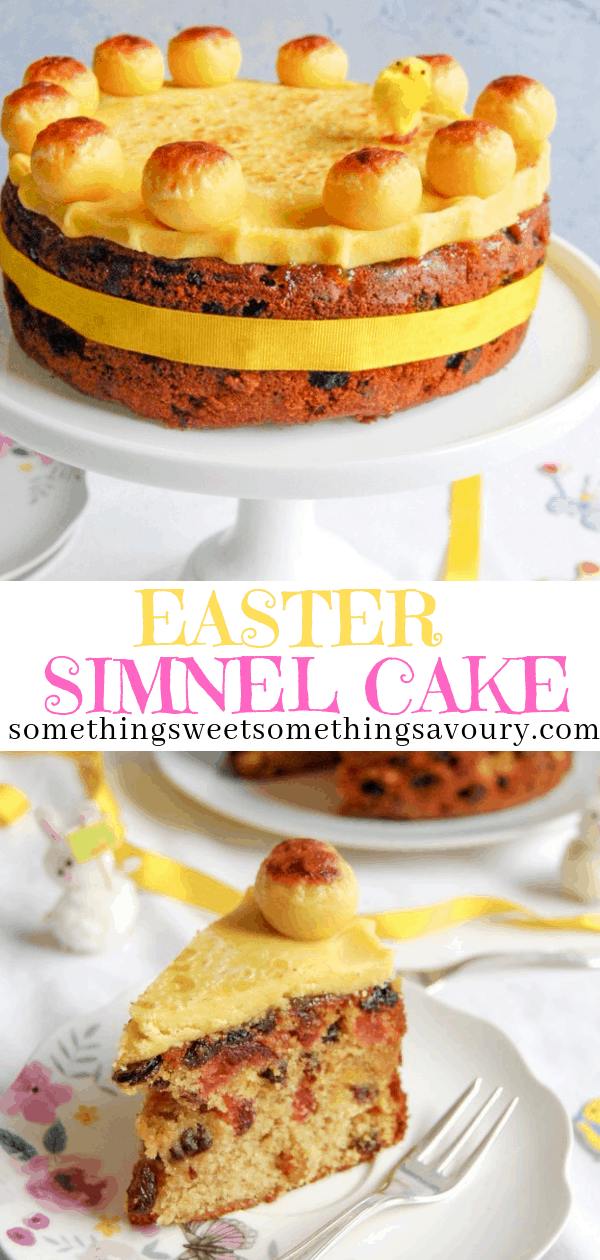 Simnel Cake is a light fruit cake covered in marzipan, traditionally eaten at Easter.  It's absolutely perfect with a cup of tea.