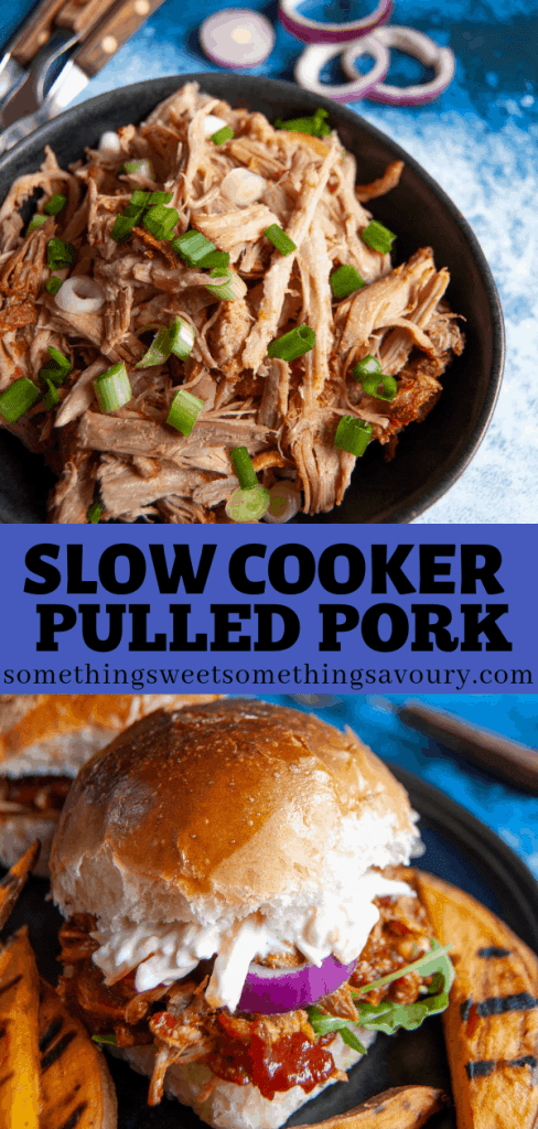 A Pinterest long pin with two photos - photo one is a bowl of slow cooker pulled pork with chopped spring onions on top. Second photo is a pulled pork burger with sweet potato wedges