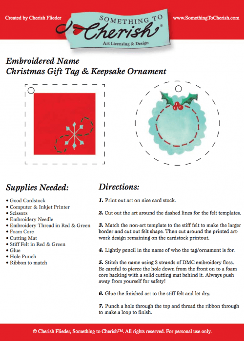 Design and Art for Licensing by Cherish Flieder Download the PDF of the craft directions and template for your personal use only please.