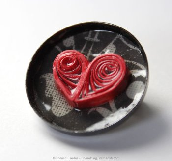 Paper quilled heart pin