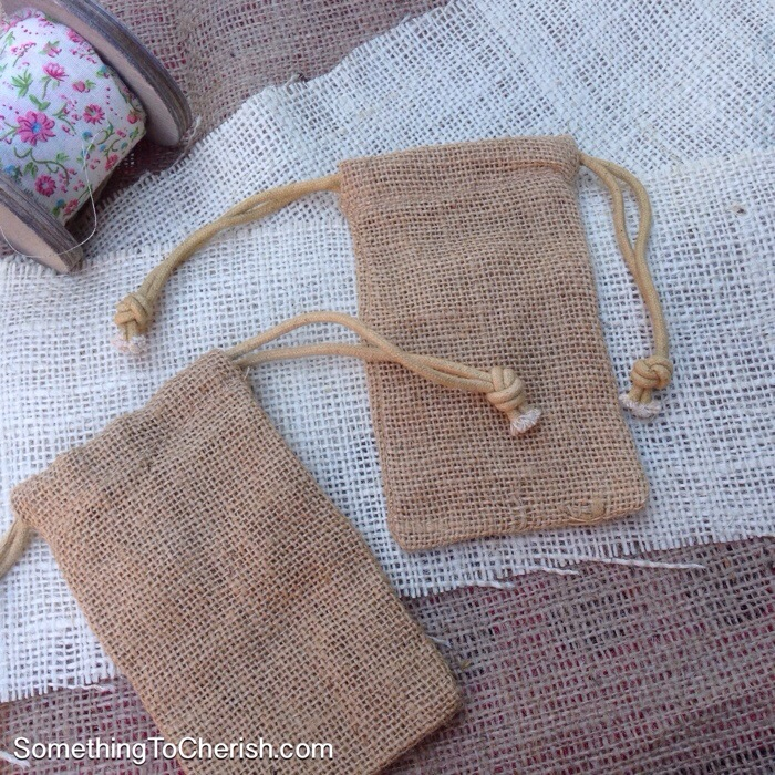 Something to Cherish Drawstring Burlap Bag