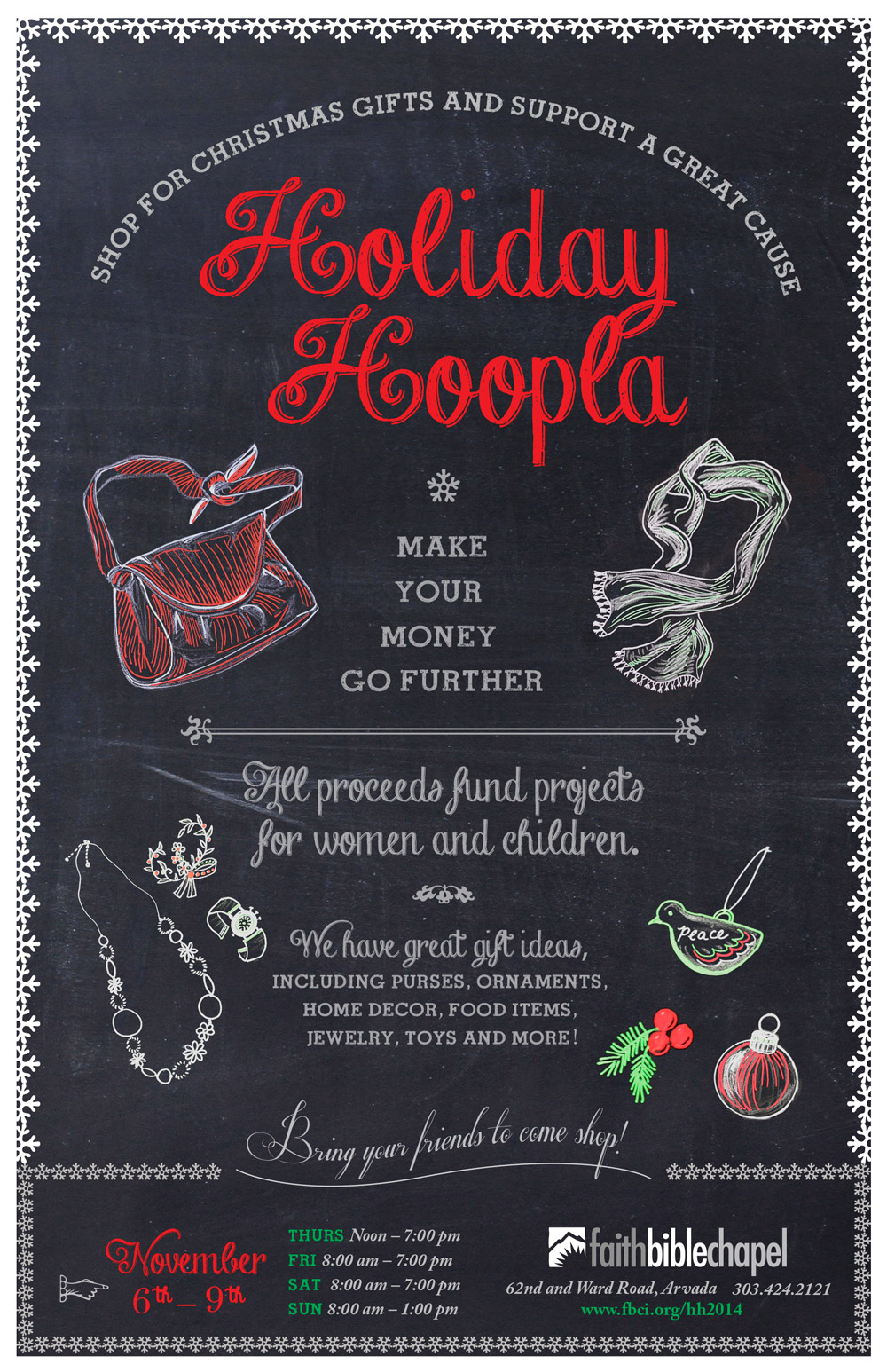 Poster: Holiday Hoopla Chalk Art Campaign Illustrated and Designed by Cherish Flieder