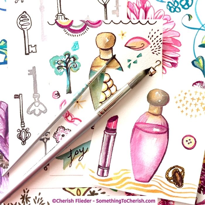 Art Licensing Elegant Beauty Watercolor Collection Preview by artist Cherish Flieder of Something to Cherish