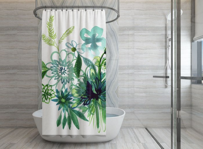 Aqua and Green Watercolor Flower Shower Curtain designed by Cherish Flieder - Something to Cherish
