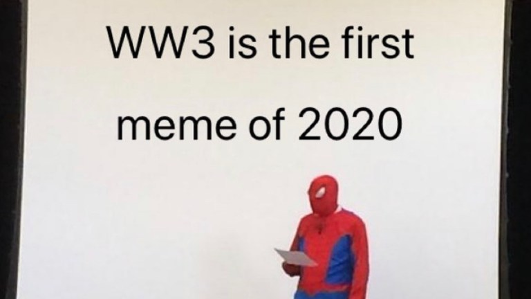 World War 3 Spiderman announcement meme