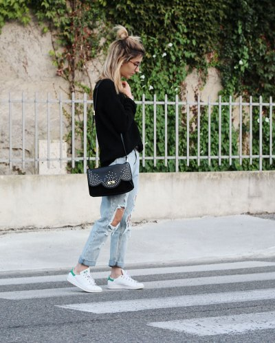 Ripped jeans & black knit