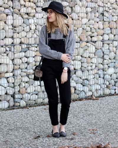 Black overalls & knit