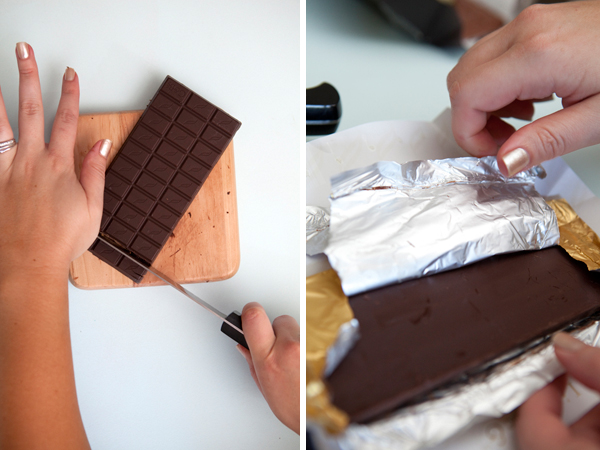 cutting more chocolate