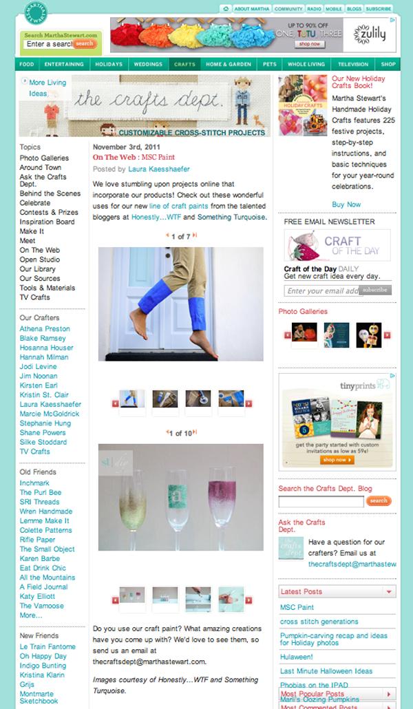 SomethingTurquoise featured on Martha Stewart the Craft's dept blog