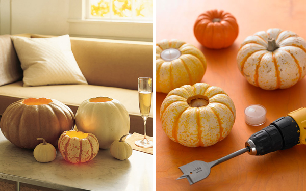 pumpkin votive holders via Martha Stewart