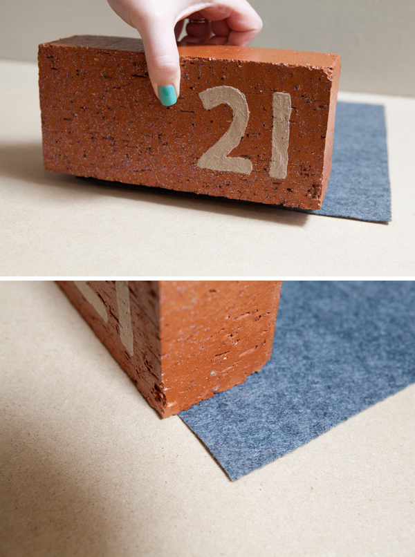DIY painted brick table number by Something Turquoise for Sparkle & Hay