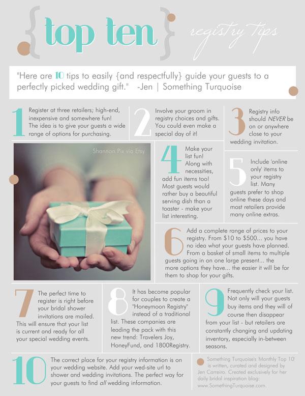 Top 10 List on Wedding Gift Registries