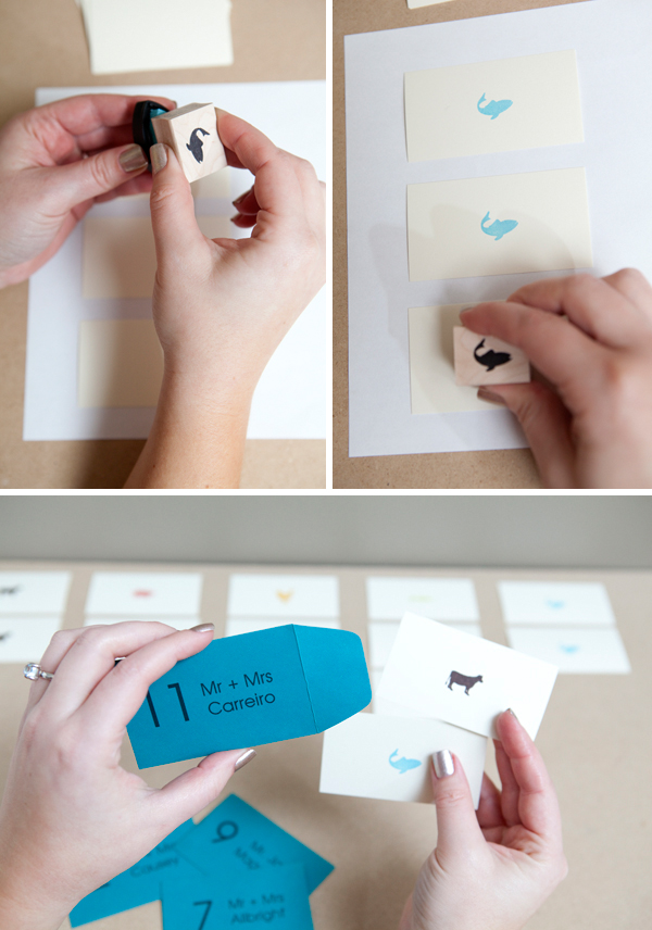 Mini-envelope Escort Cards with menu options! Something Turquoise