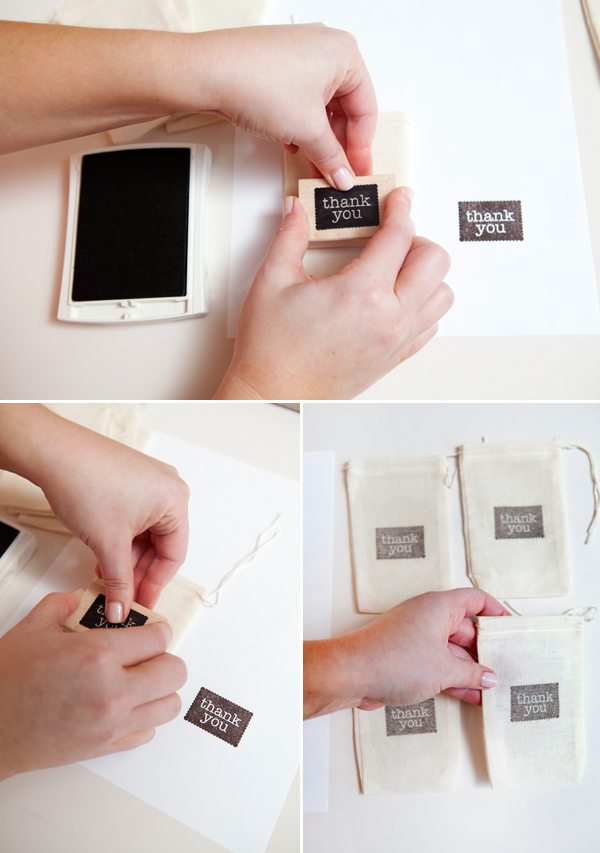 hand-stamped muslin favor bags diy tutorial