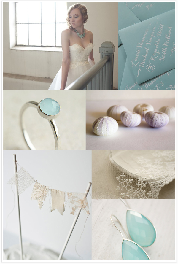 beige and aqua bridal inspiration