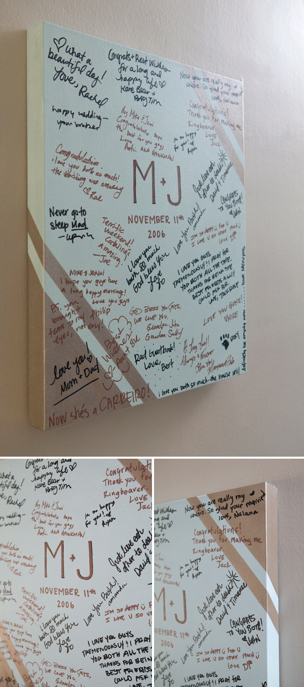 DIY personalized painted canvas guestbook
