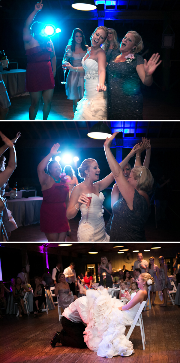 bride dancing with champagne