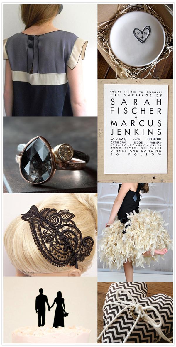 black taupe wedding inspiration