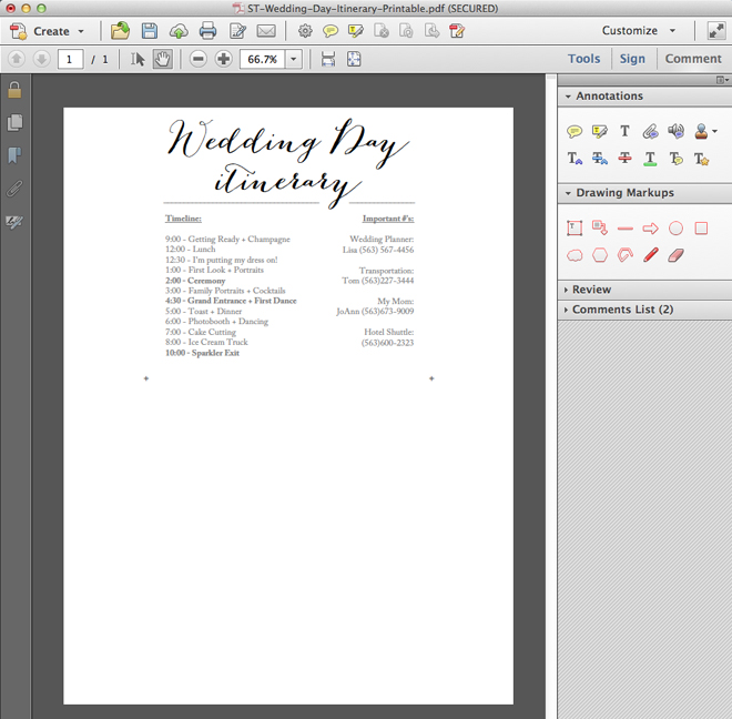 Download edit and print this darling free wedding itinerary free simple wedding day itinerary card printable junglespirit Images