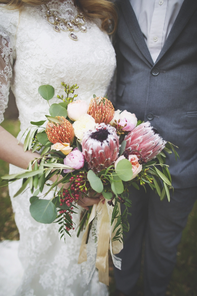 Stunning protea wedding bouquet