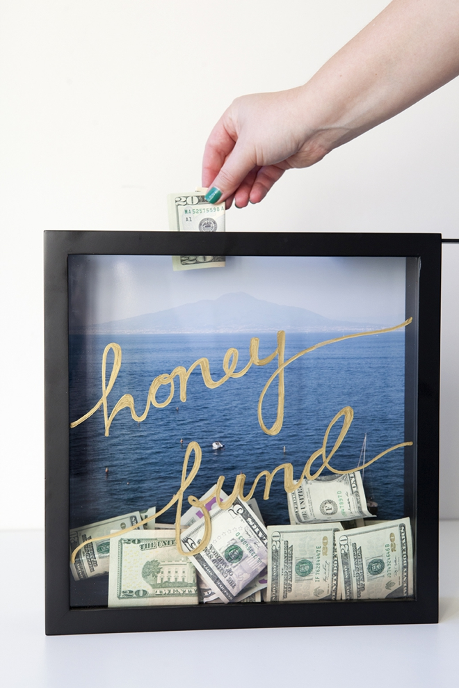 How to make a honeymoon fund shadowbox savings frame!
