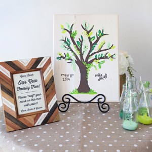 DIY Wedding: painted tree guest book idea!