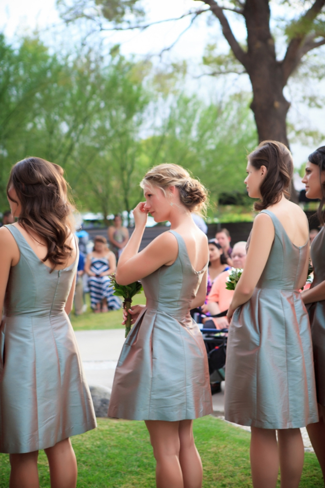 Emotional bridesmaid... showing the love