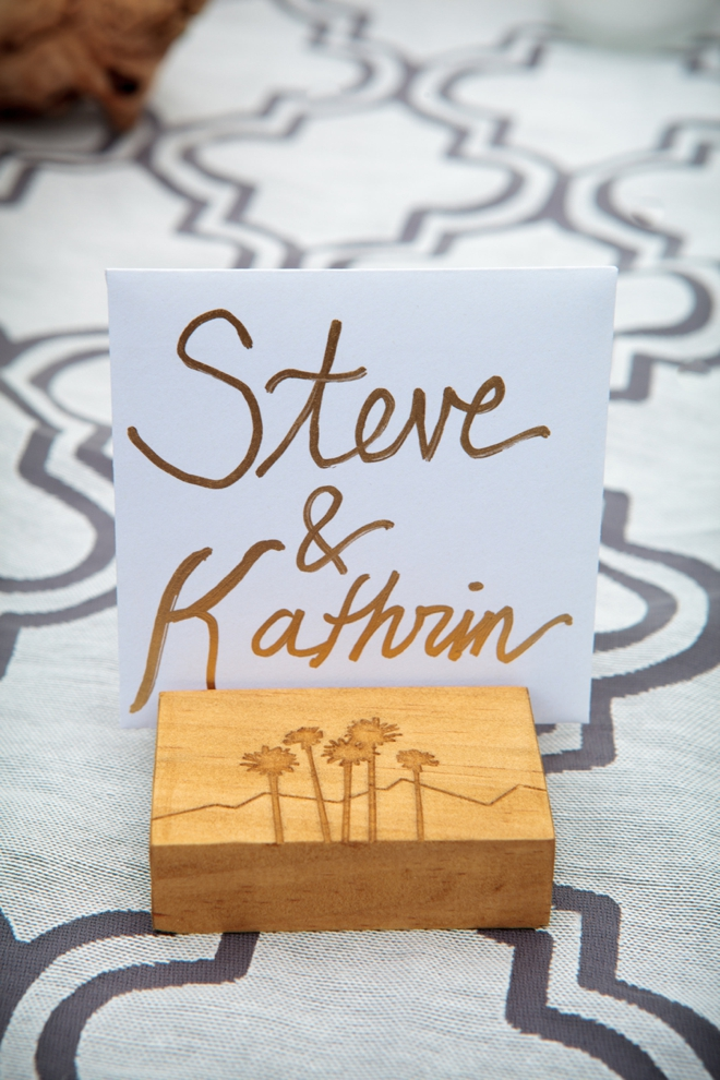 Handmade wooden wedding favors that double as picture holders