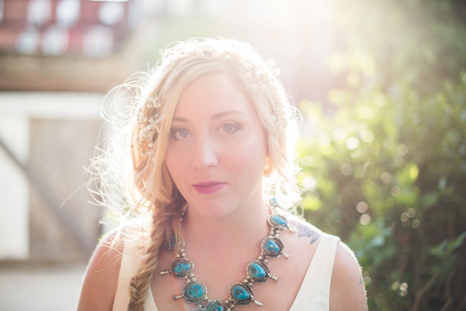 Vintage turquoise necklace = an amazing something old, borrowed and blue.