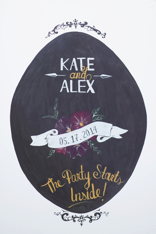 Beautiful hand painted wedding welcome sign