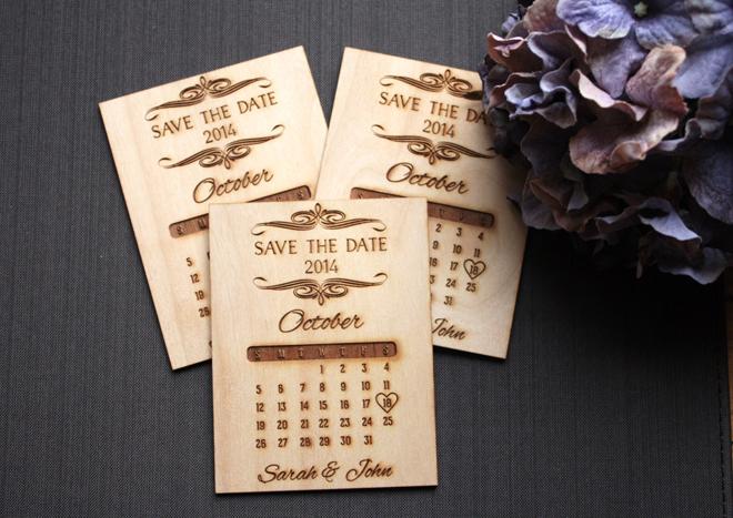Handmade, wood burned save the date invitations from Tri~Elegance via Etsy