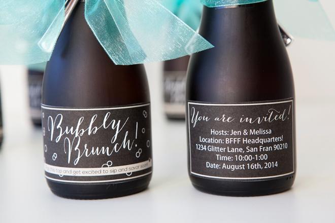 DIY - mini-champagne bottle brunch invitation!