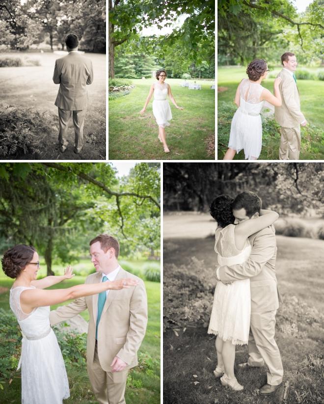 Barn wedding first look