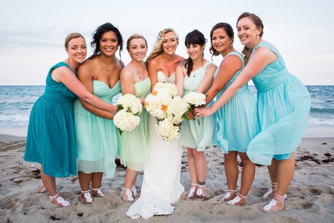 Beach bride and her maids