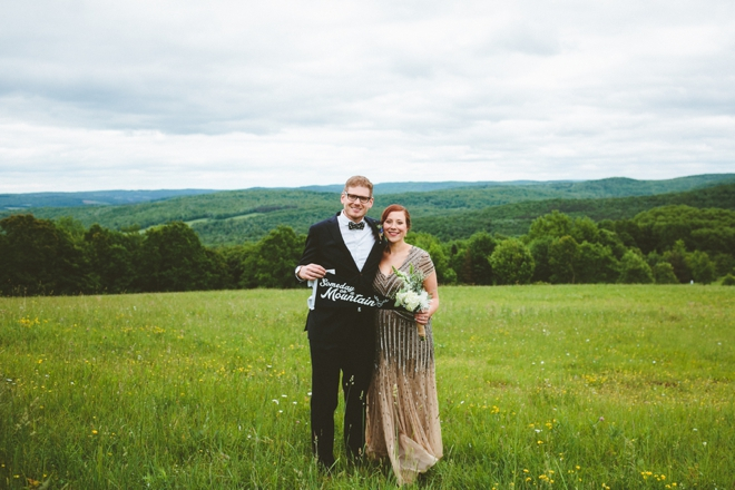 Rustic mountain bride and groom