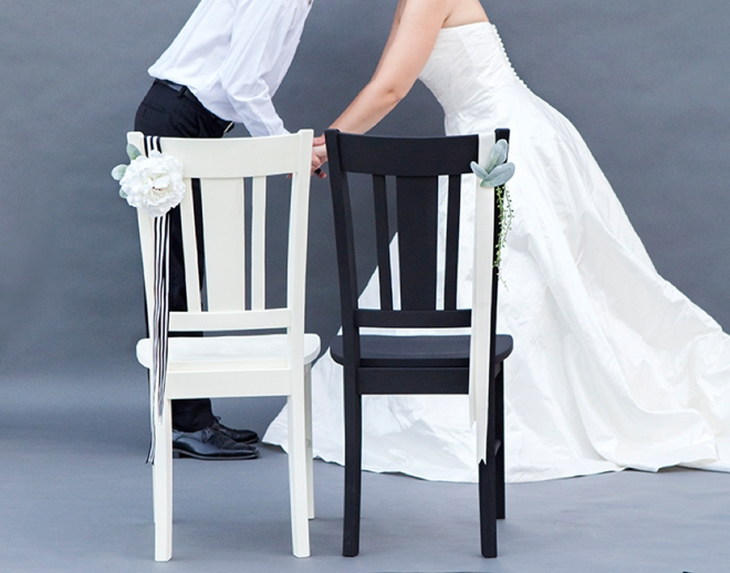DIY - painted wedding reception chairs