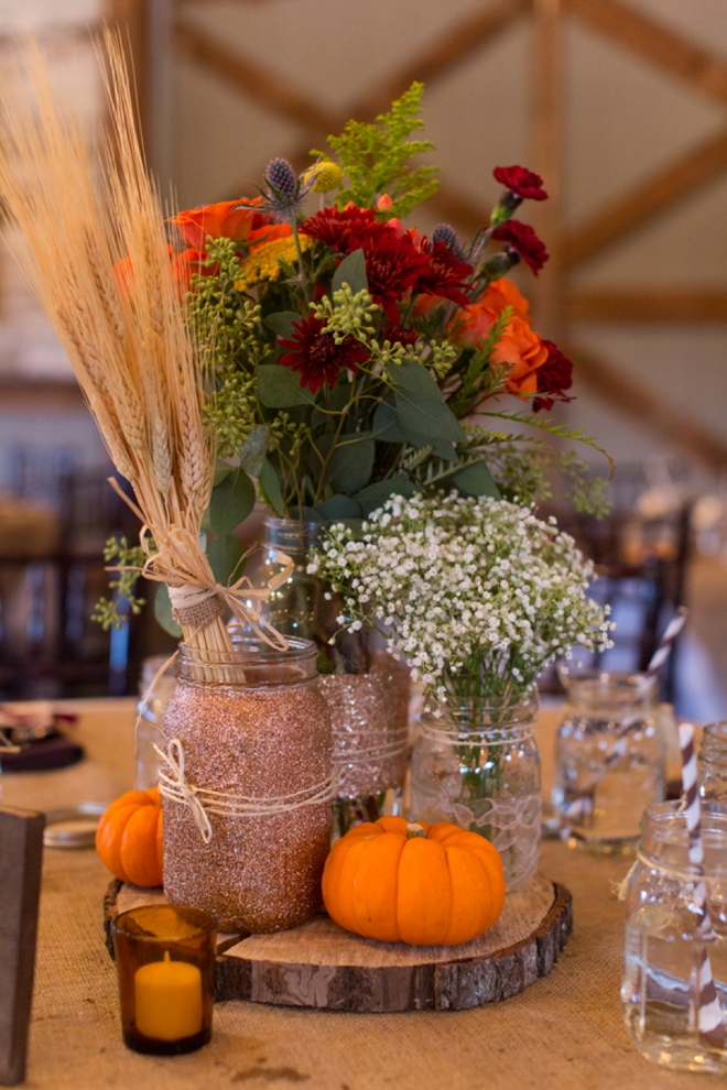 Glitter mason jar fall wedding centerpiece