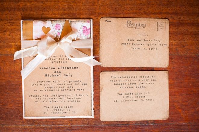 Vintage themed wedding invitations