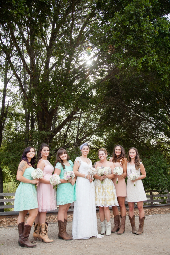Darling multicolored bridesmaids