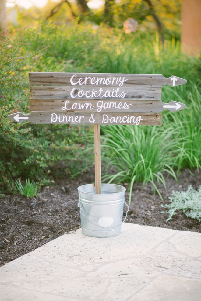 Wooden wedding directional sign