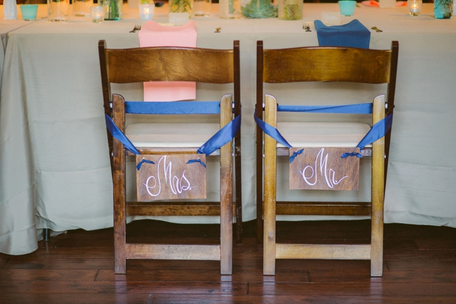 Mr & Mrs chair sign