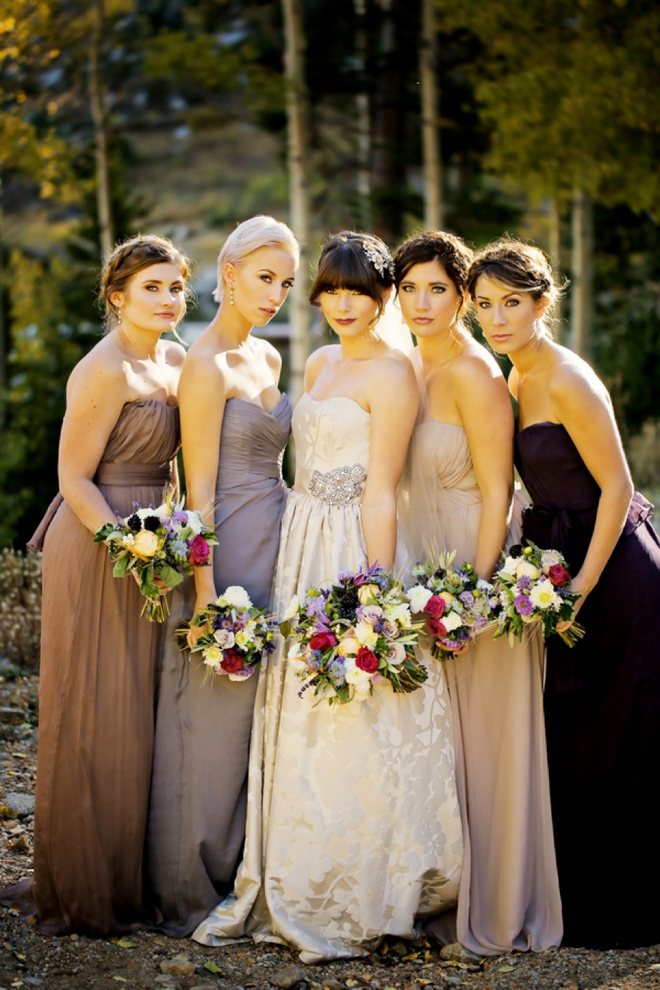 Stunning fall bride and her bridesmaids