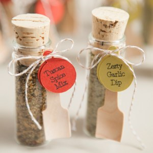 DIY Wedding Favors -- spice dip mix in a glass vial!