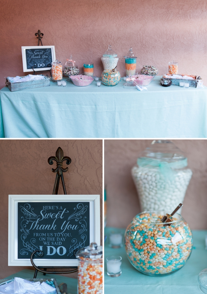 Turquoise and peach candy bar