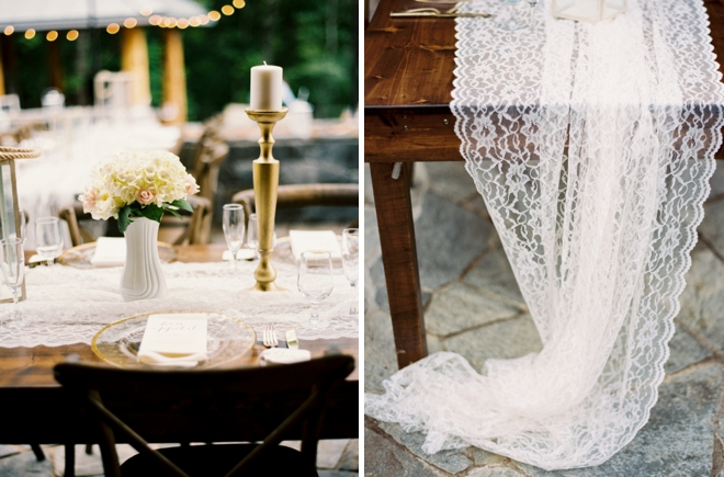 Lace table cloths, gold candle sticks