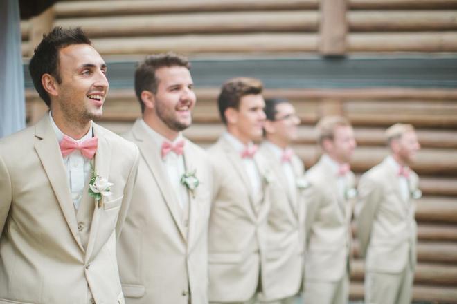 Khaki and pink groomsmen
