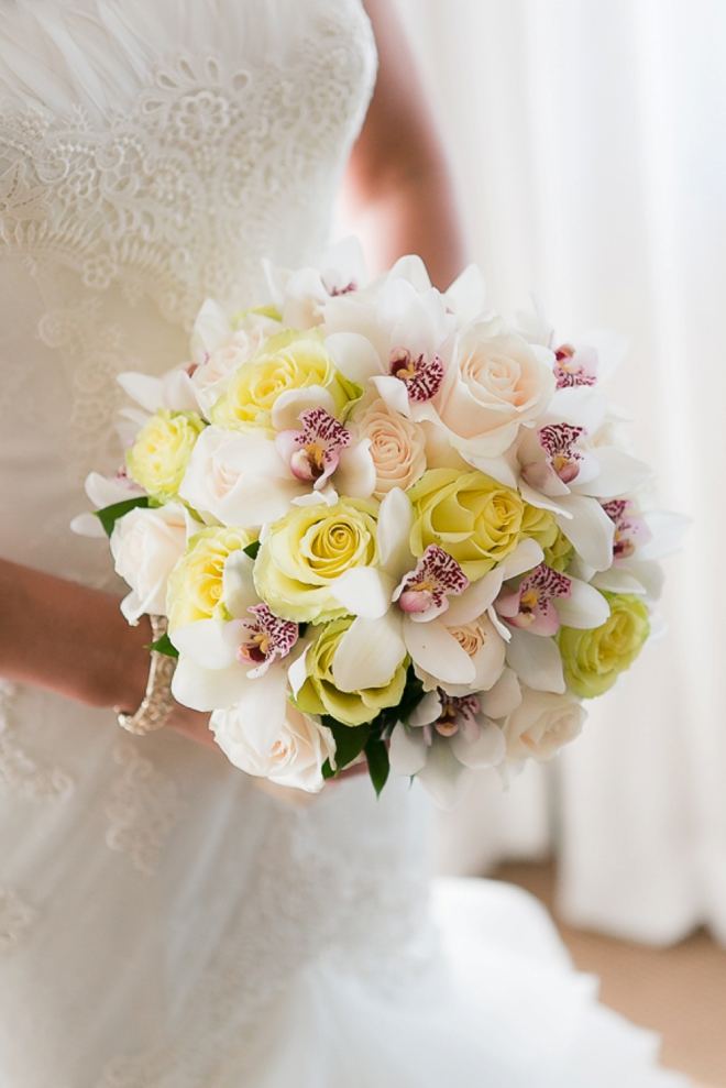 Rose and orchid wedding bouqeut