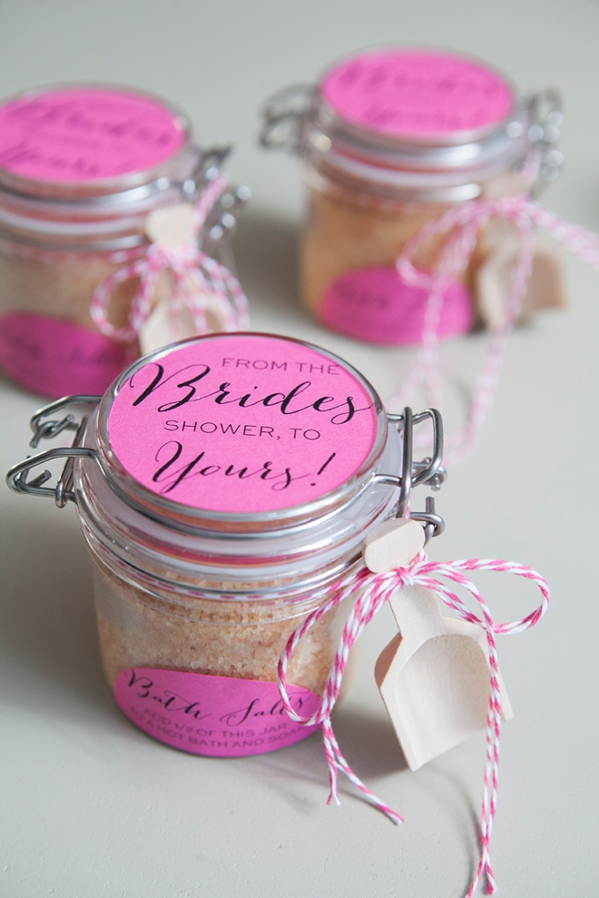 DIY Bridal Shower Bath Salts Favors